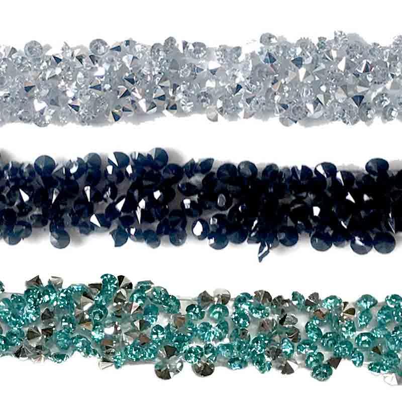 Passamaneria Perle e Strass tipo Swarovski Termoadesiva