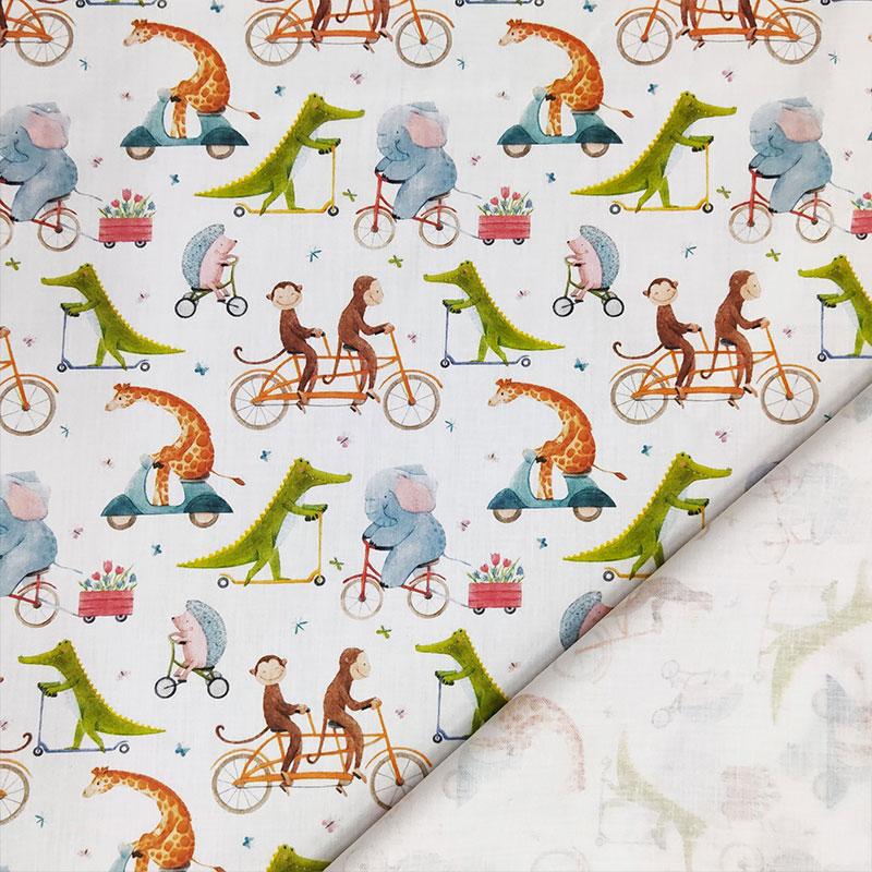 Rasatello di Cotone Animali in Bicicletta