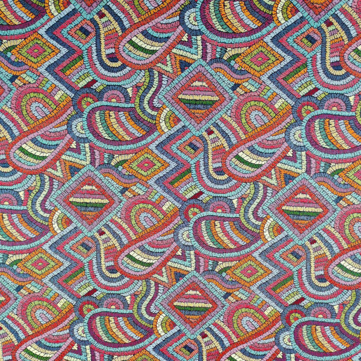Tessuto Jacquard Fantasia Astratta Ricamo Mosaico Multicolor