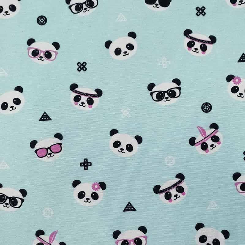 Tessuto Misto Cotone Fantasia Piccoli Panda