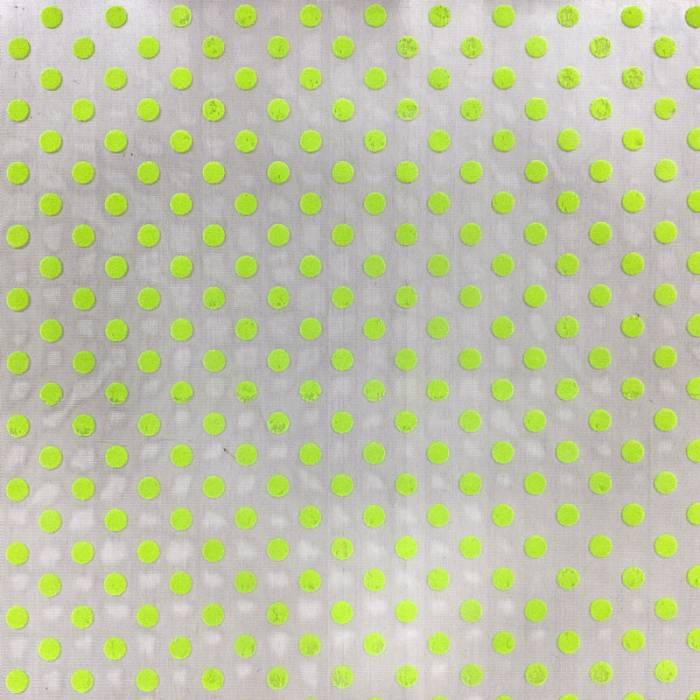 Tessuto Tulle Pois Floccati Verde Acido