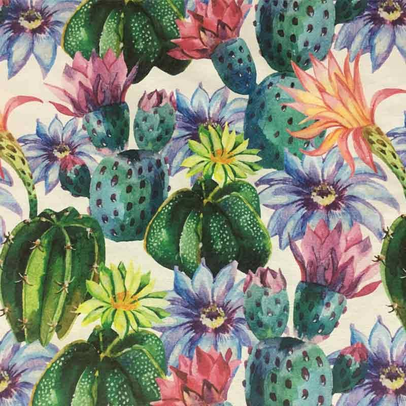 Tessuto Panama Stampa Digitale Cactus