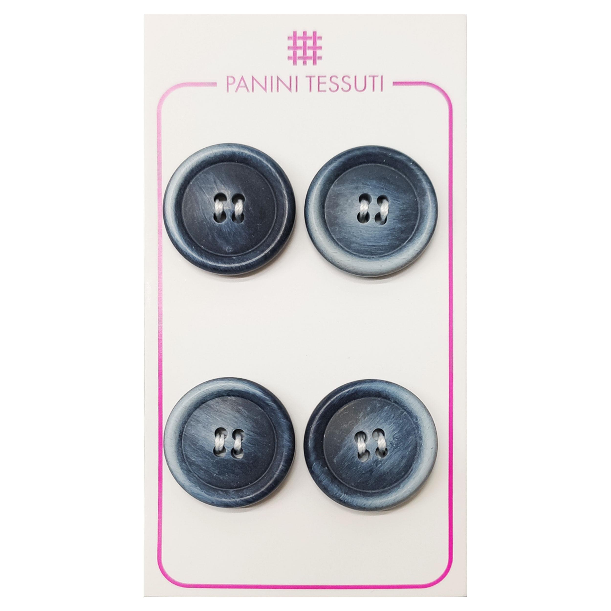 Bottoni Opachi Melange Color Azzurro 4 Pezzi - Lin 32