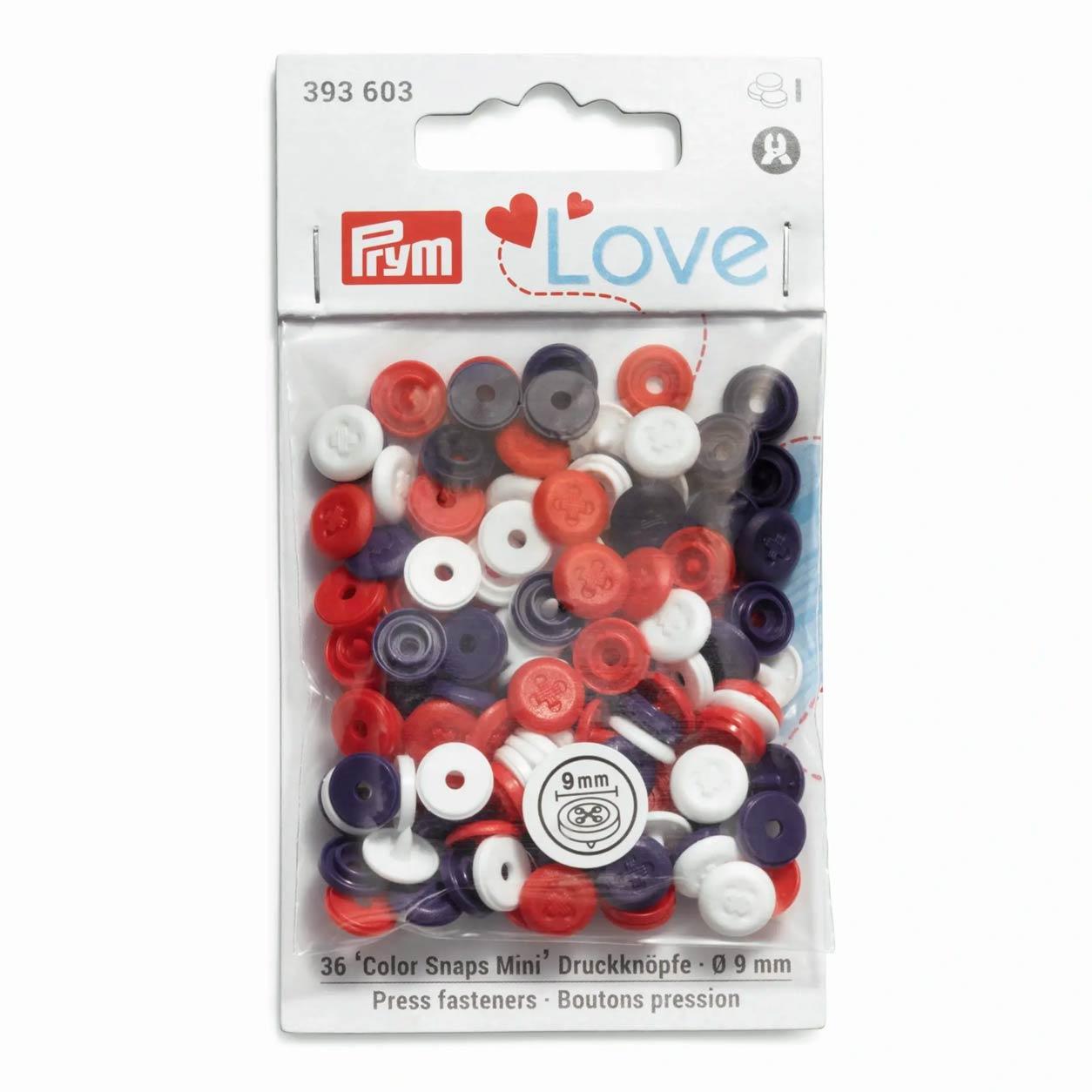 Bottoni a Pressione Color Snap Effetto Cucito Multicolori Prym Love 9 mm