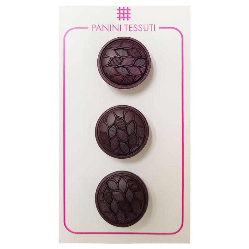 Bottoni Foglioline Colore Bordeaux 3 Pezzi - Lin 32