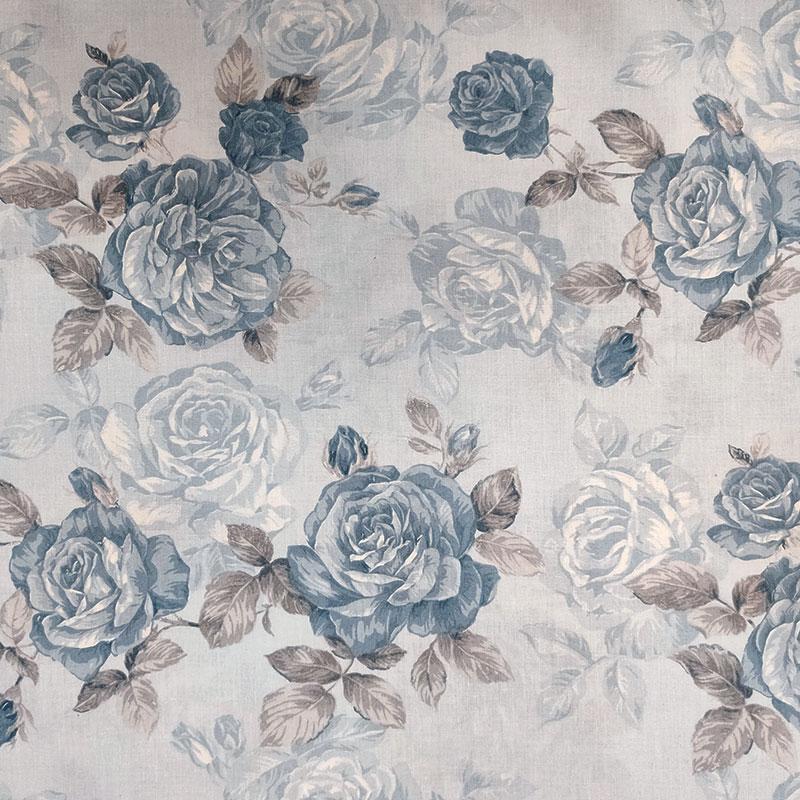 Tessuto di Cotone Fantasia Rose in Azzurro