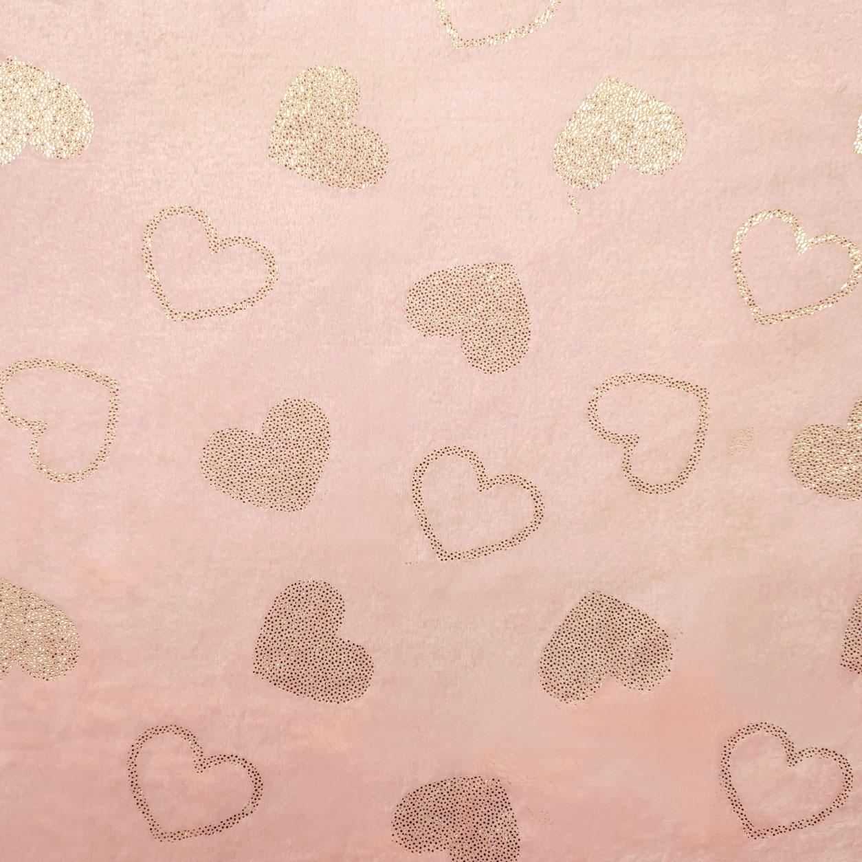Pile Mano Cachemire Rosa Baby Cuori Oro