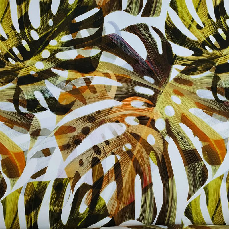 Tessuto Cotone Elasticizzato Foglie Marroni