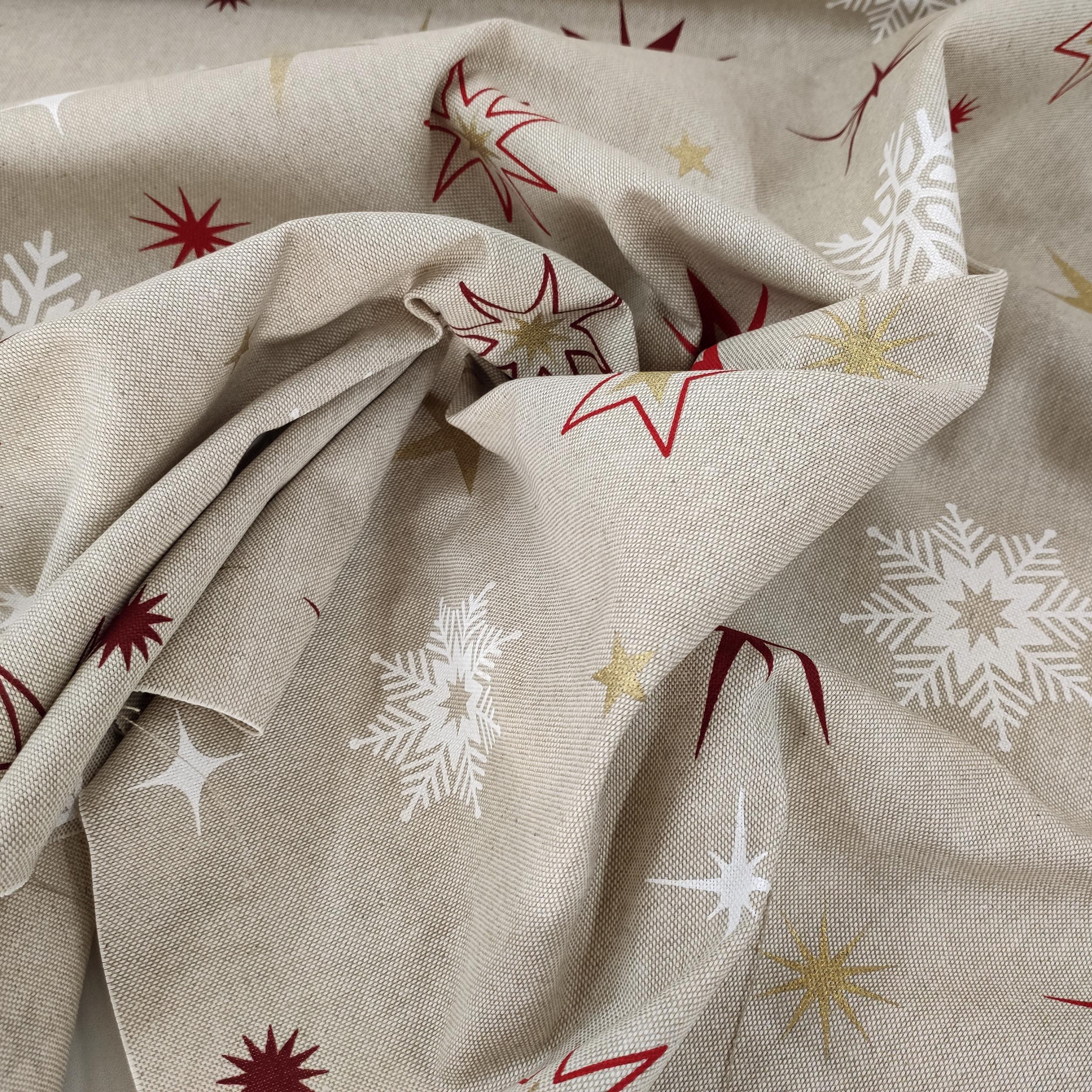 Tessuto Misto Cotone Fantasia Stelle e Fiocchi di Neve