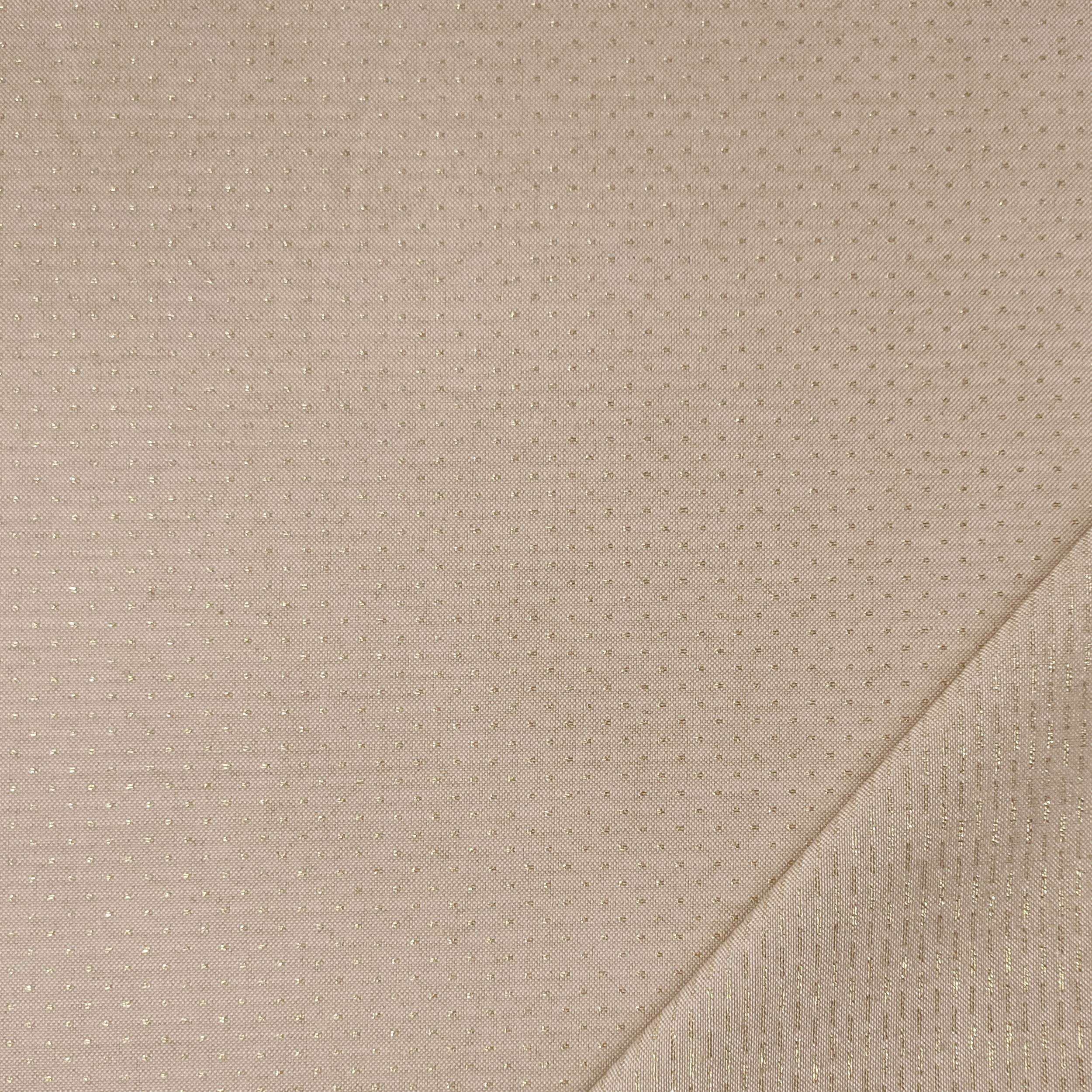 Tessuto Panama Mini Pois Lurex Argento