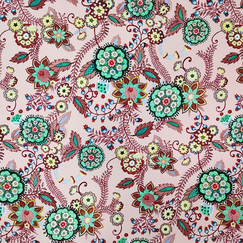 Tessuto di Cotone Floreale Sfondo Rosa