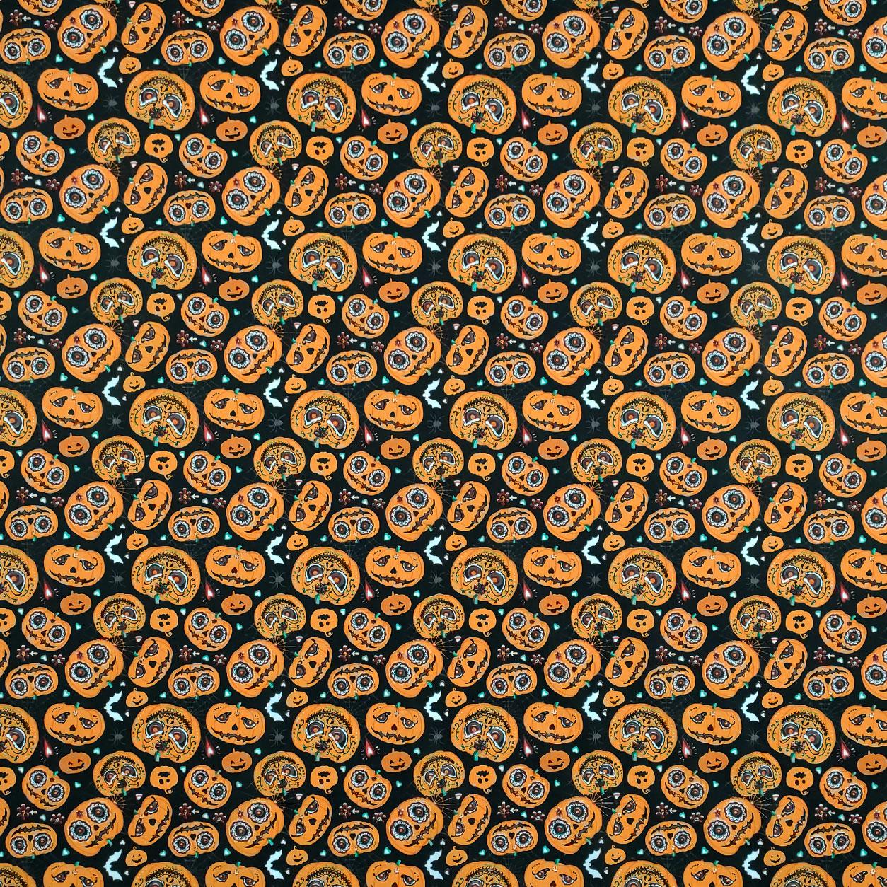 Tessuto Cotone Halloween Zucche Messicane