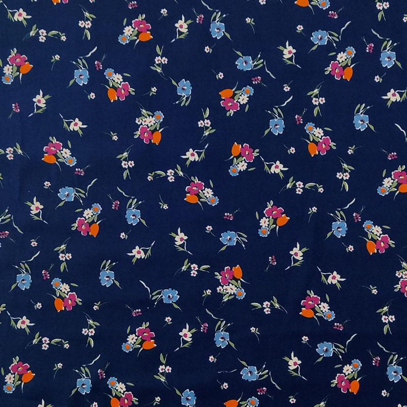 Cotone Elasticizzato con Fiorellini Colorati Sfondo Blu Notte