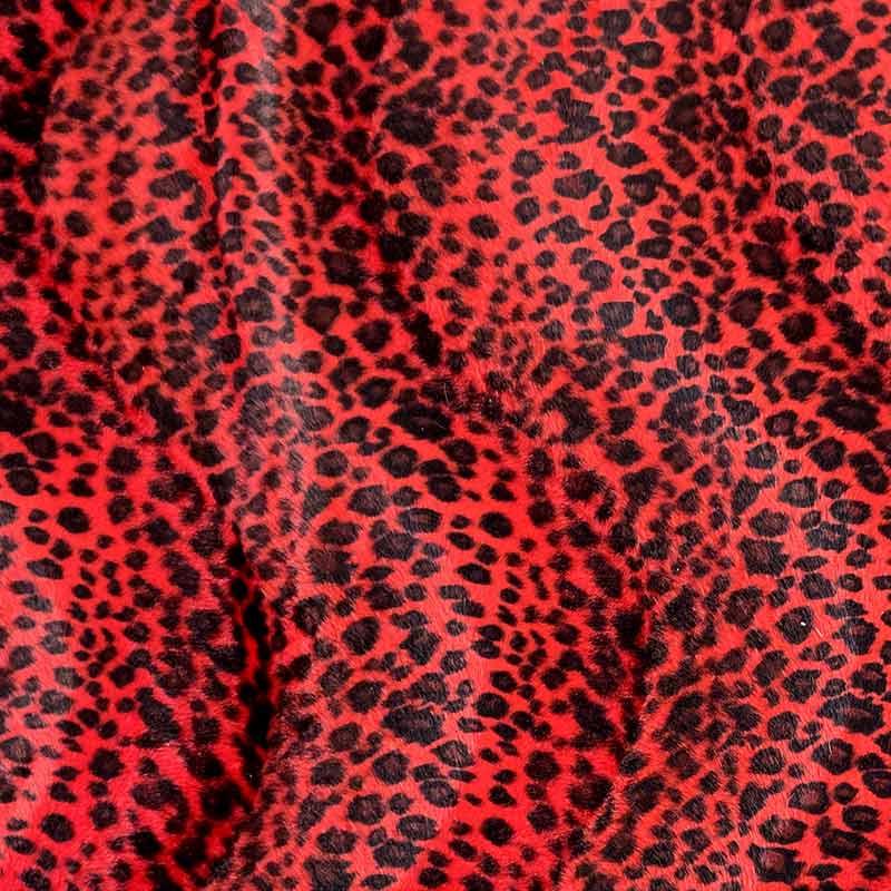 Tessuto Cavallino Leopardato Rosso