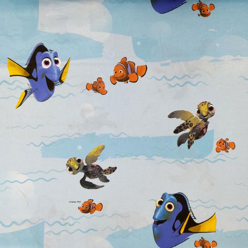 Tessuto Cotone Disney Nemo Sfondo Azzurro