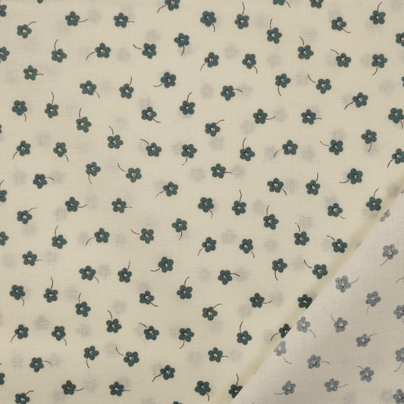 Tessuto Cotone Fiorellini Verdi Sfondo Panna