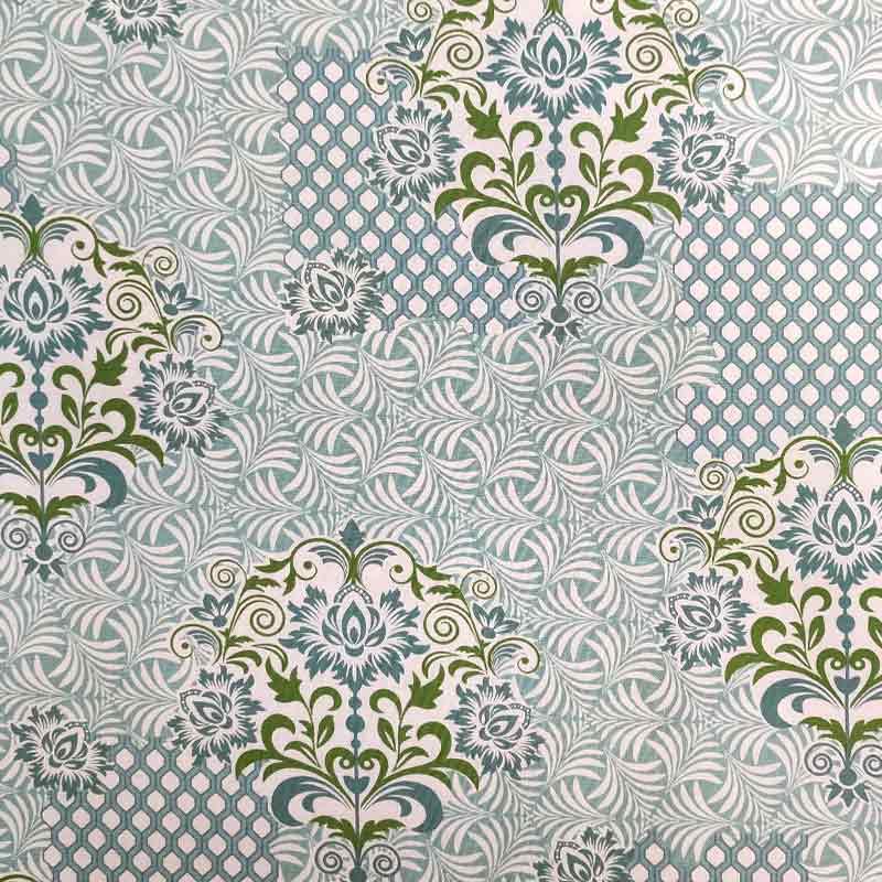 Tessuto Gutermann Mosaico e Arabeschi Verde