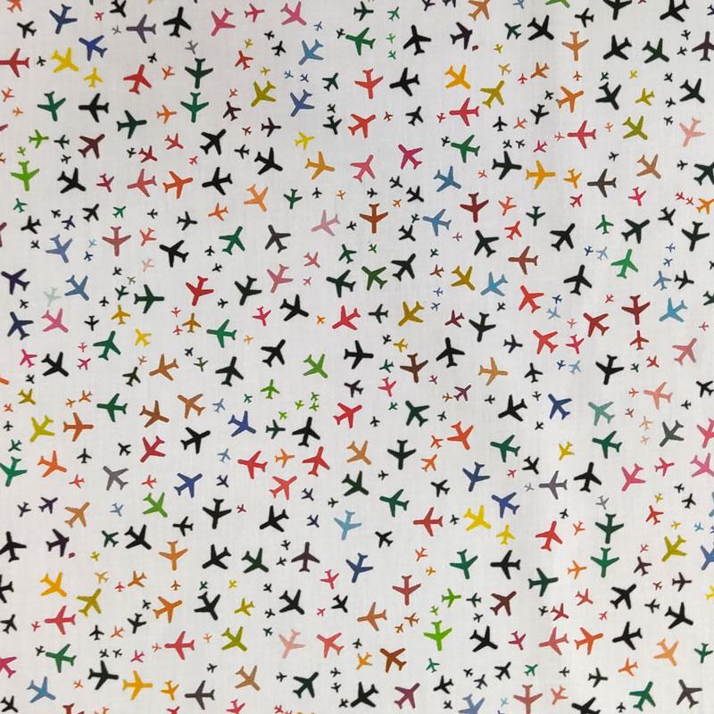 Ritaglio Rasatello Cotone Aeroplani Colorati 50x140 cm