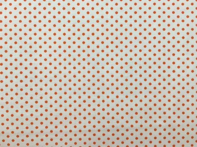 Tessuto Cotone con Pois Arancioni