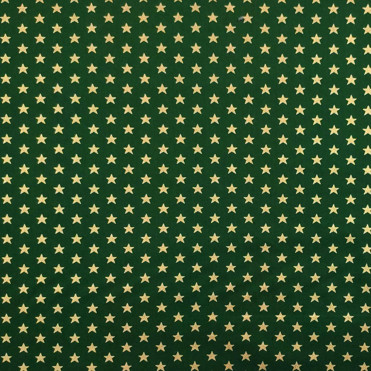 Tessuto Cotone Stelle Lurex Oro Sfondo Verde