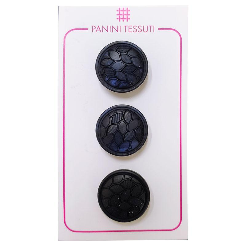 Bottoni Foglioline Colore Blu 3 Pezzi - Lin 32