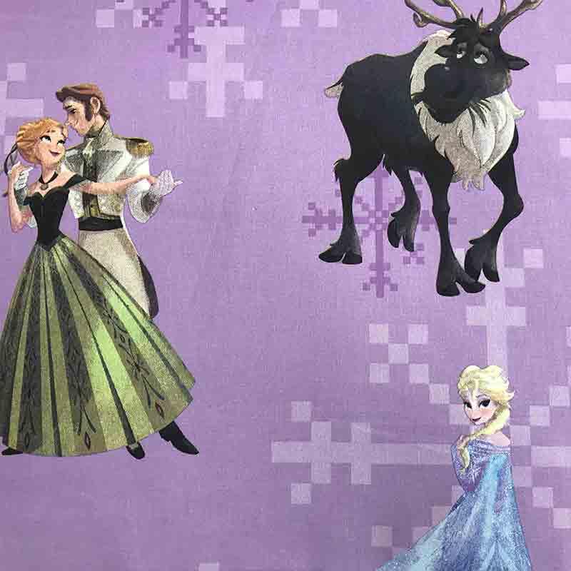 Tessuto Cotone Disney Frozen Lilla