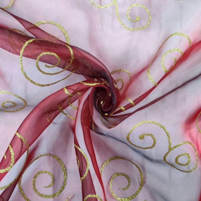 Organza Rossa con Spirali Oro Glitter