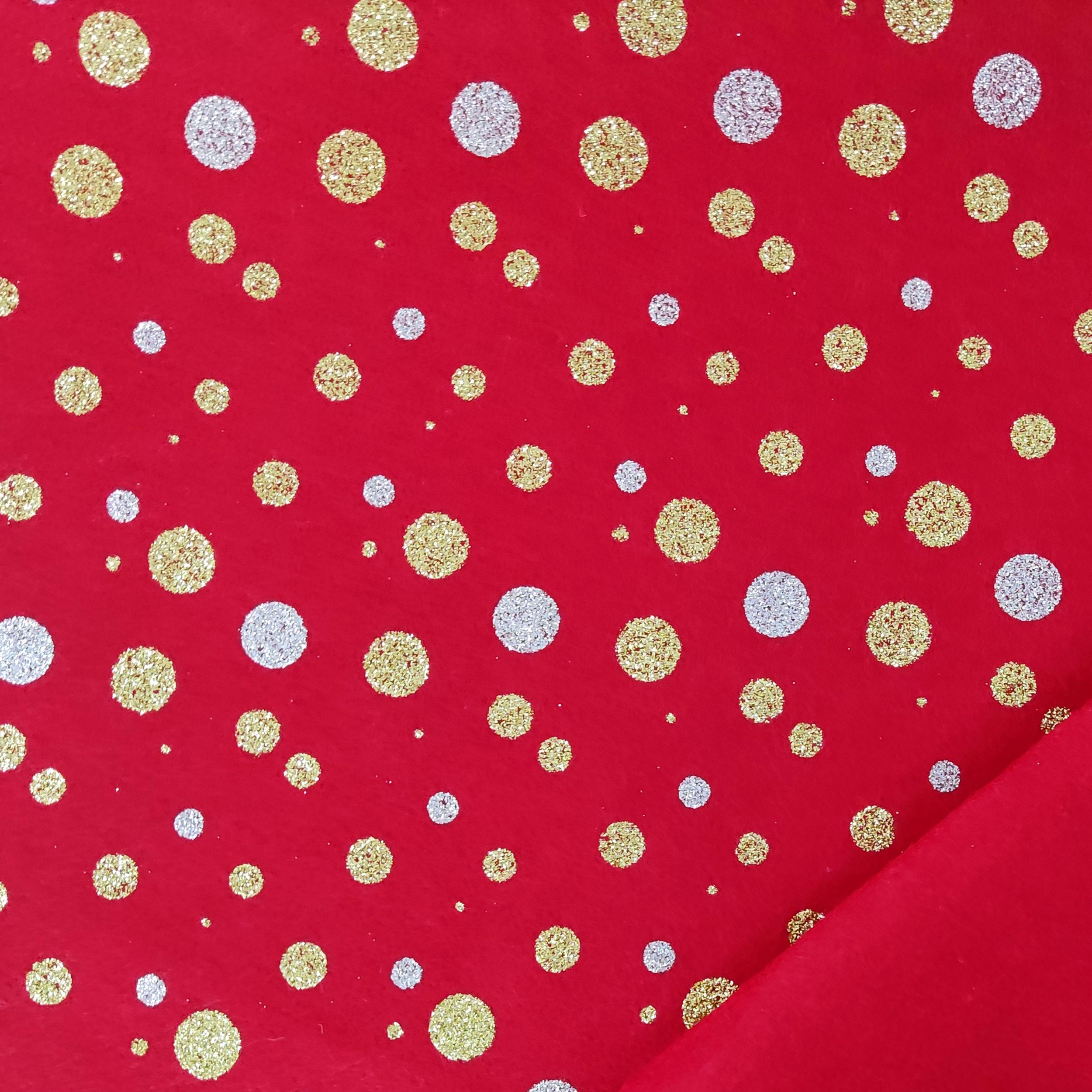 Pannolenci Pois Glitter Sfondo Rosso