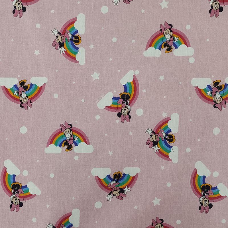 Tessuto Cotone Disney Minnie Rainbow