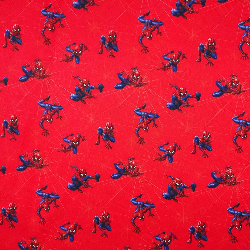Tessuto Cotone Marvel Spiderman con Ragnatela