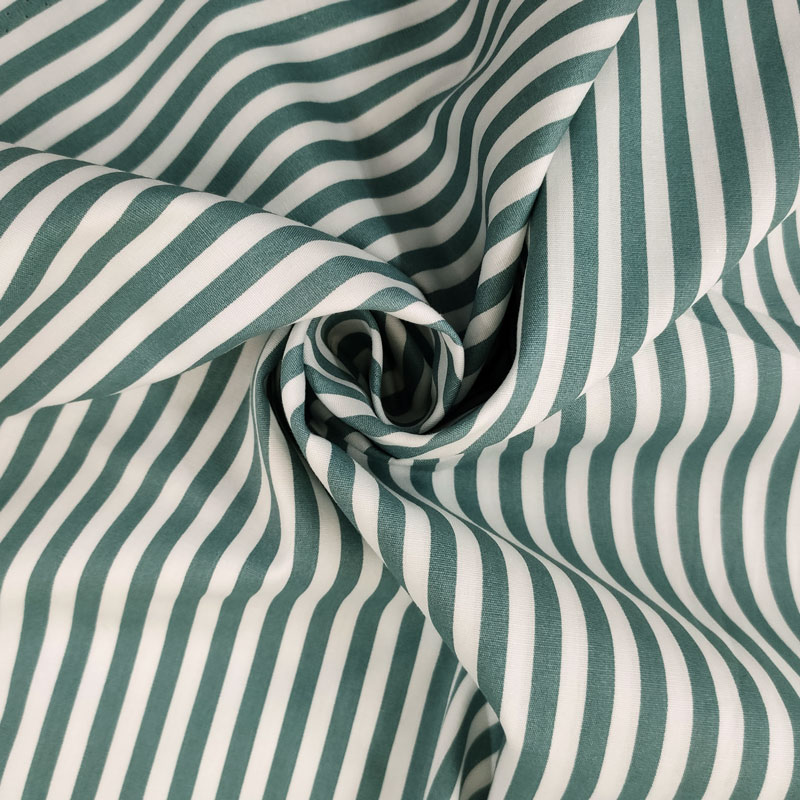 Tessuto Cotone Natural Righe Bianche e Verdi