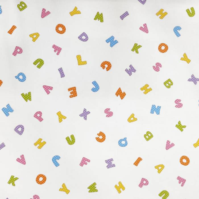 Tessuto Cotone Lettere dell'Alfabeto