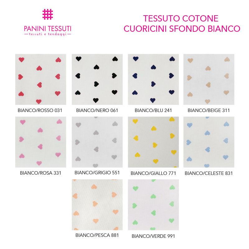 Tessuto Cotone Cuoricini Sfondo Bianco