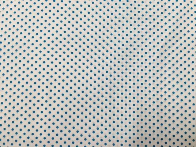 Tessuto Cotone Bianco Pois Turchesi