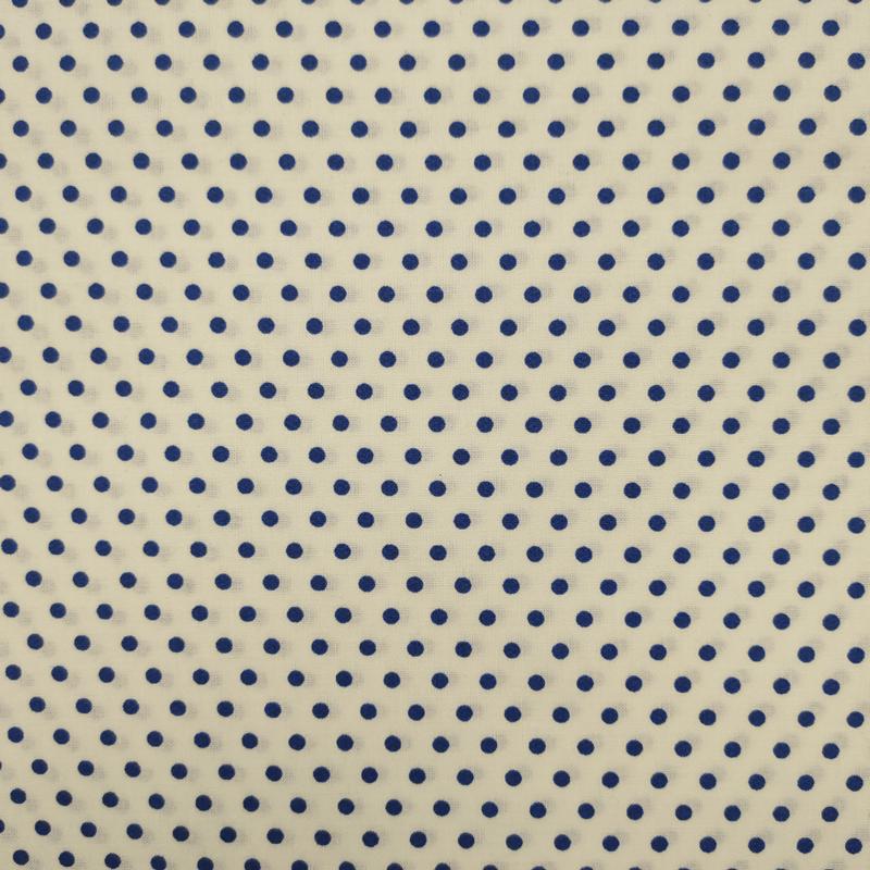 Tessuto Cotone Pois Blu Sfondo Panna