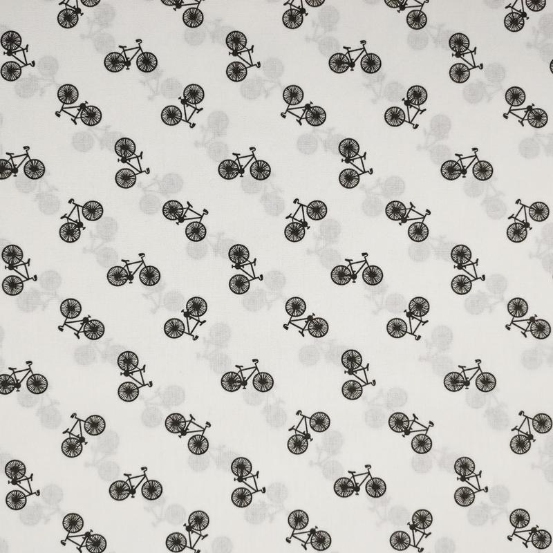 Tessuto Cotone Mini Bici Black and White