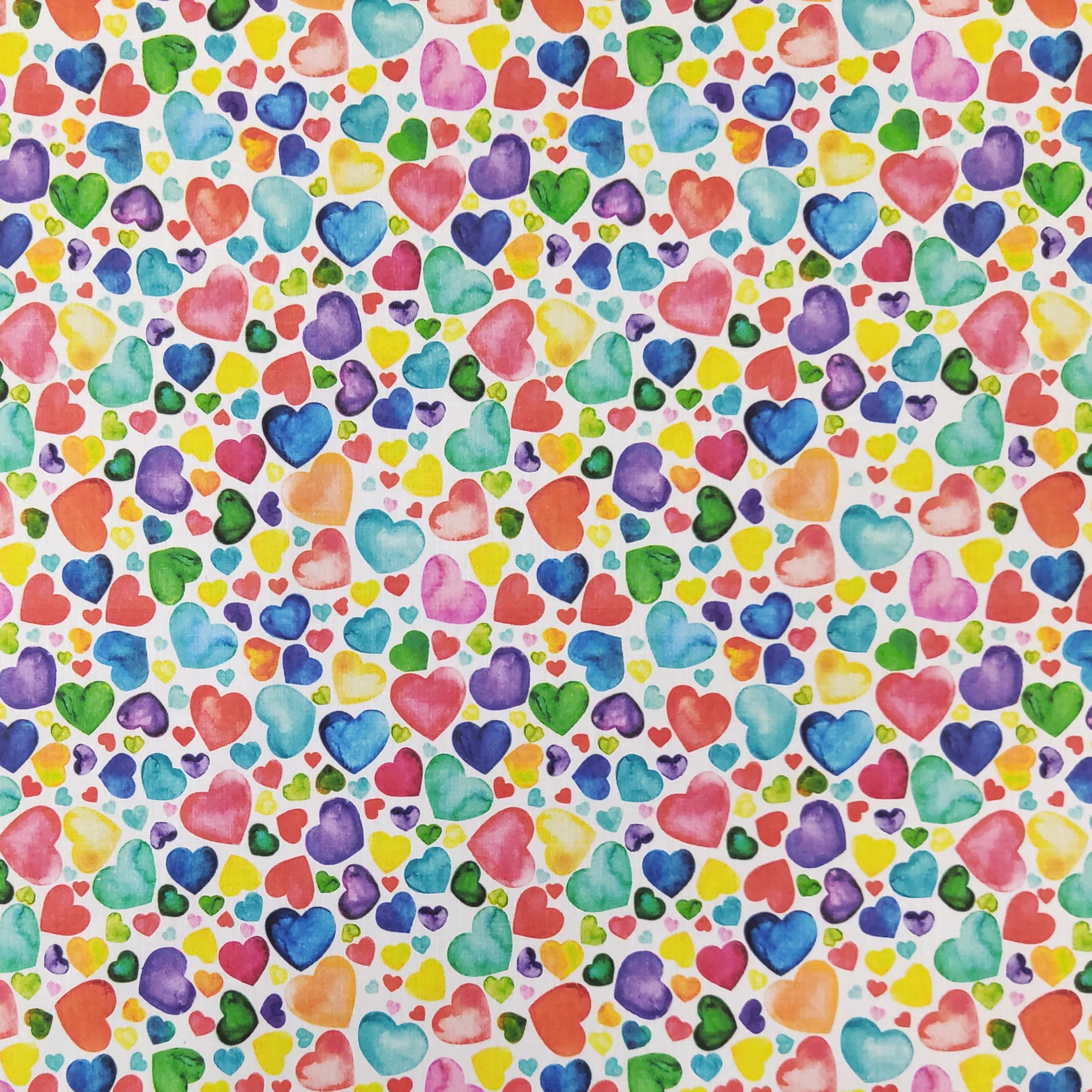 Ritaglio Rasatello di Cotone Cuori Colorati 50x140 cm