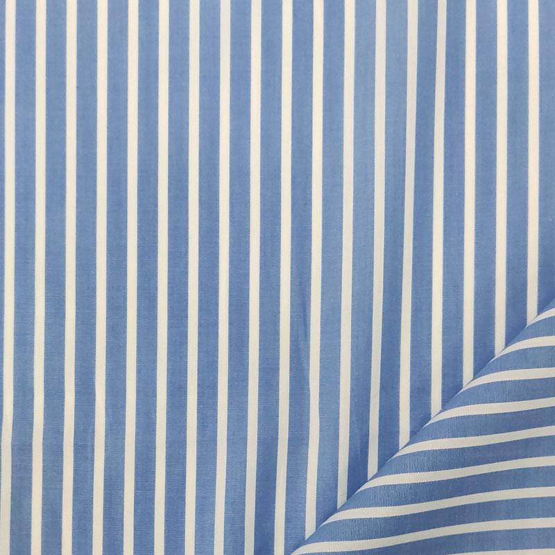 Tessuto per Camiceria Azzurro Righe Strette Bianche