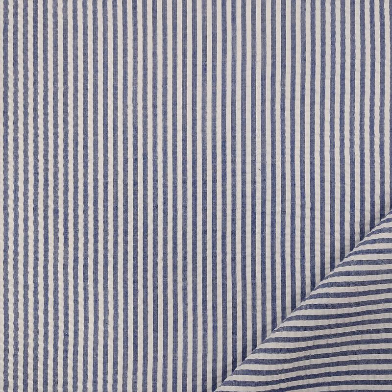 Tessuto Cotone Clo Clo Rigato Blu