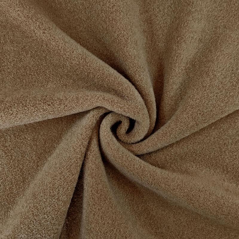 Tessuto per Cappotto Tinta Unita Rasato Nocciola