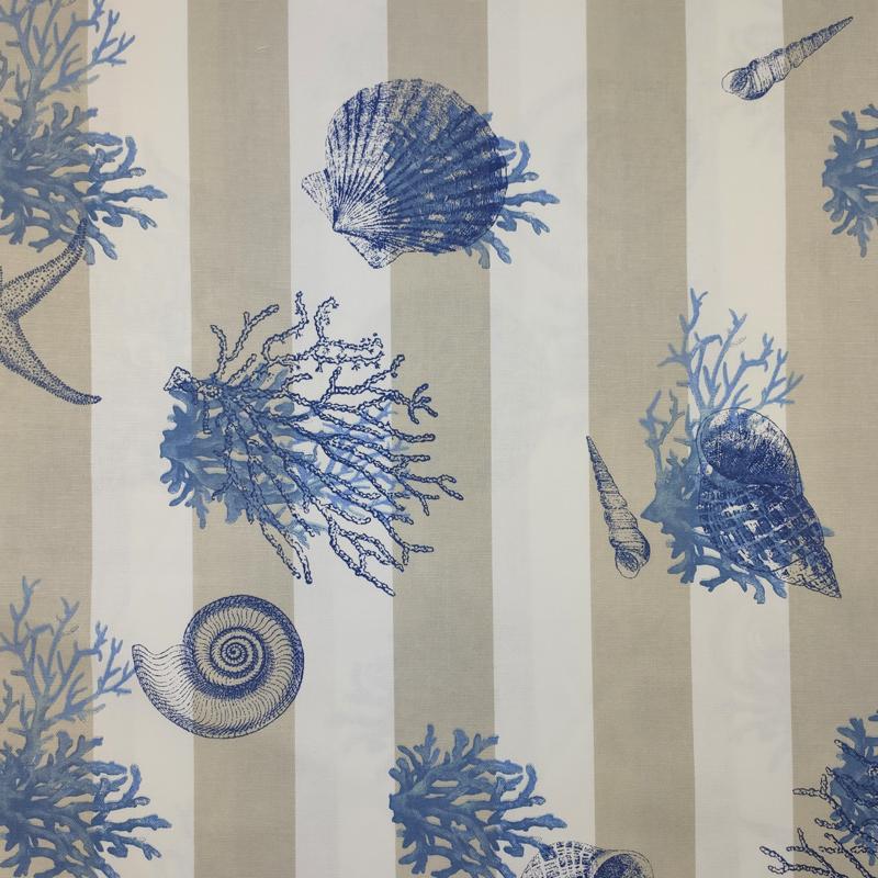 Tessuto-Panama-Righe-Bianco-Beige-Conchiglie-Blu