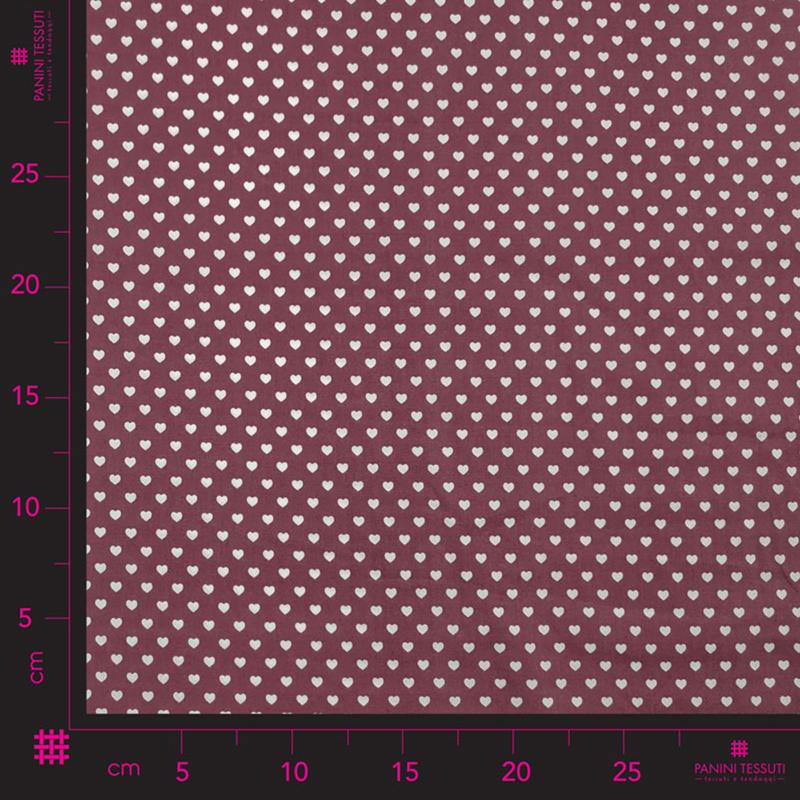 Tessuto di Cotone Cuoricini Bordeaux