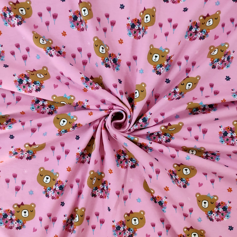 Tessuto Jersey Orsetto e Fiori Rosa