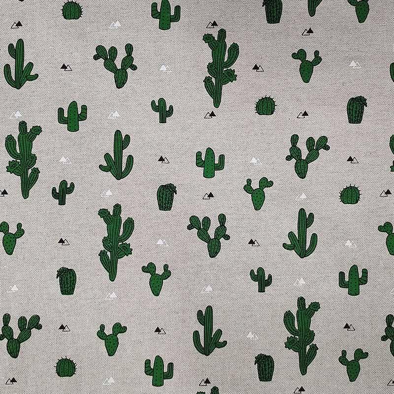 Tessuto Misto Cotone Cactus Sfondo Ecrù