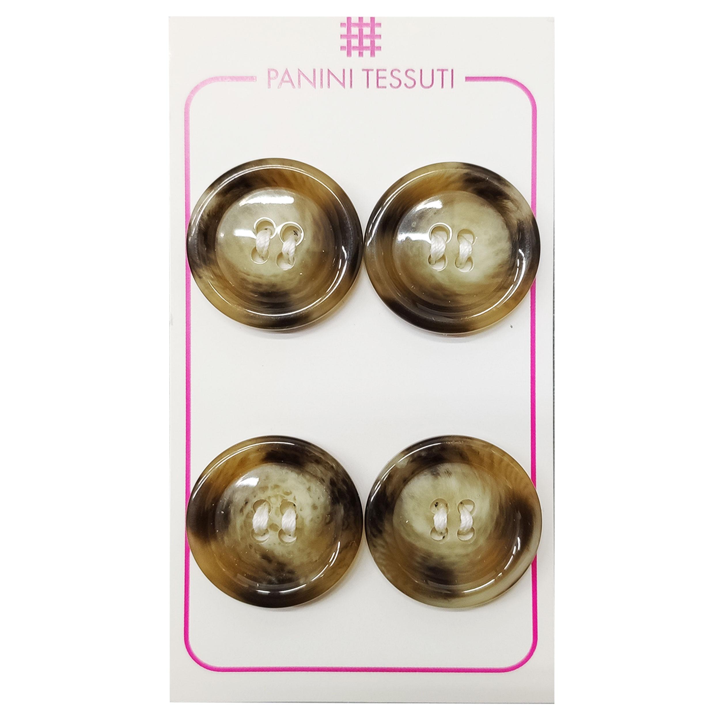 Bottoni Lucidi Melange Color Marrone 4 Pezzi - Lin 36
