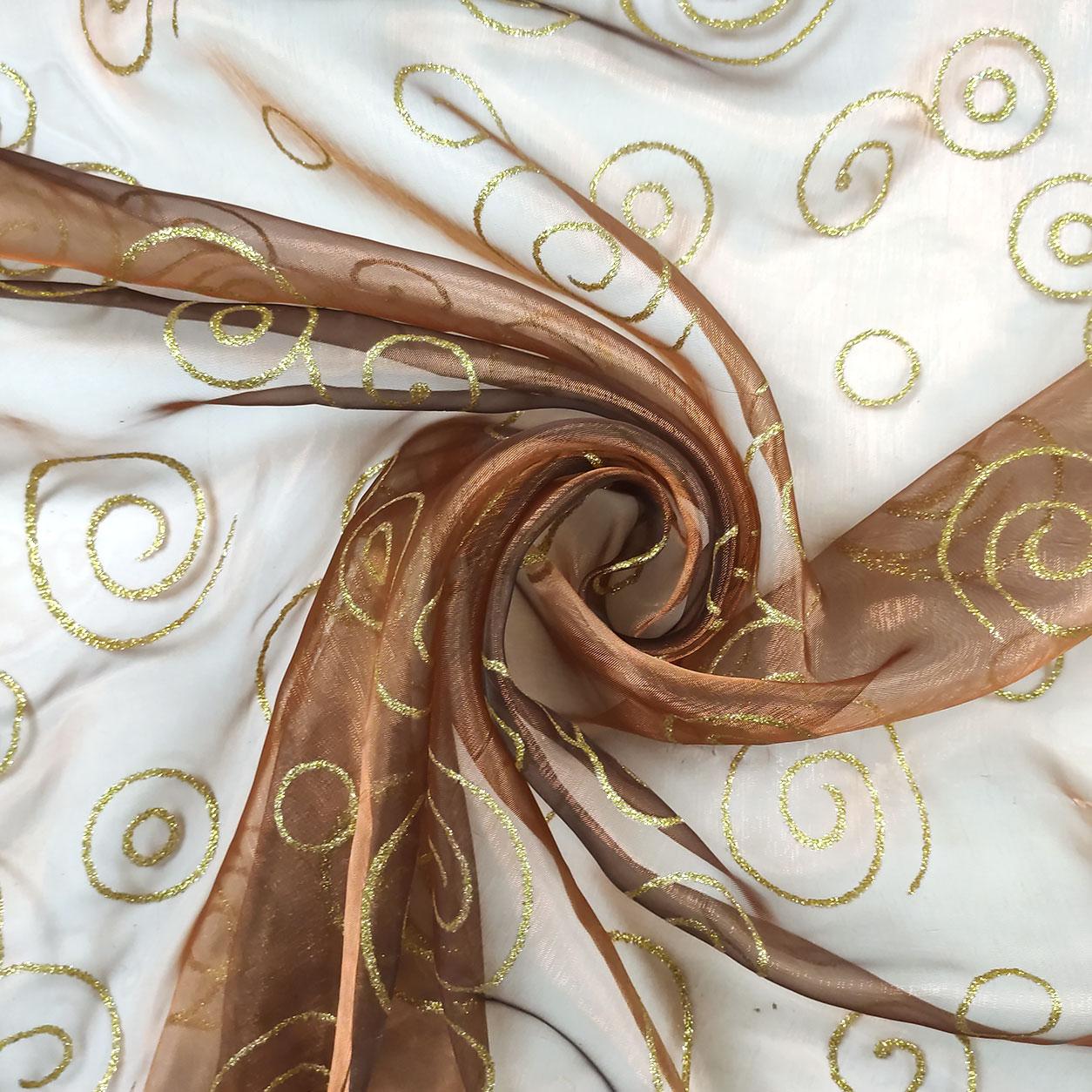 Organza Bronzo con Spirali Oro Glitter
