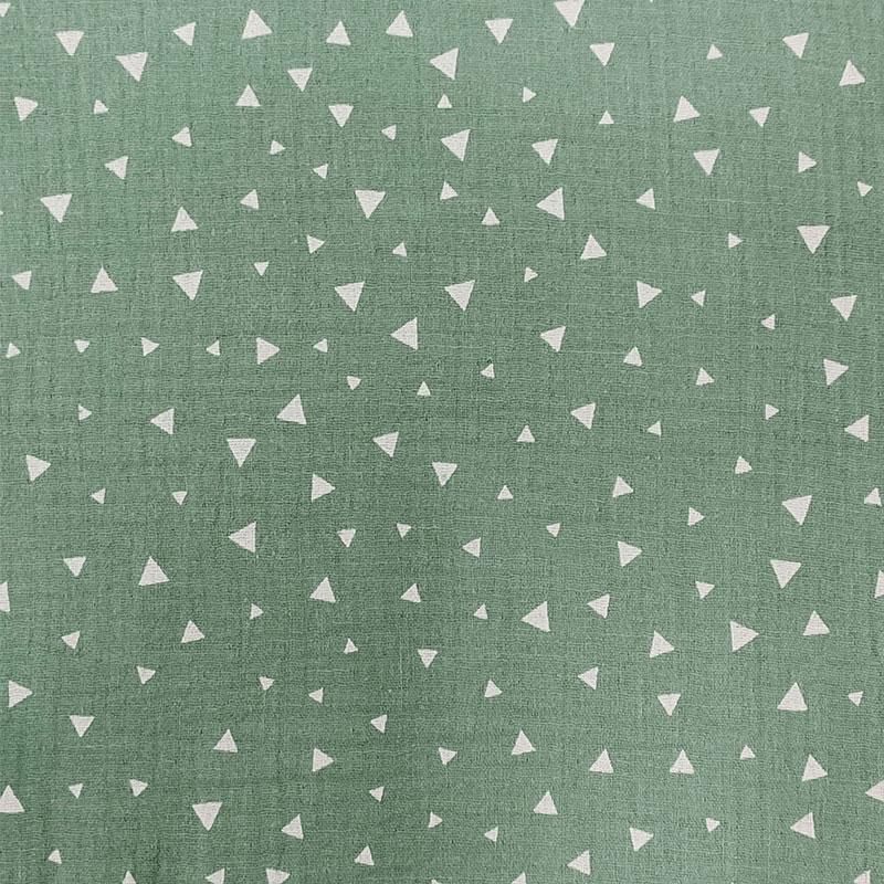 Mussola Cotone Triangoli Bianchi Sfondo Verde