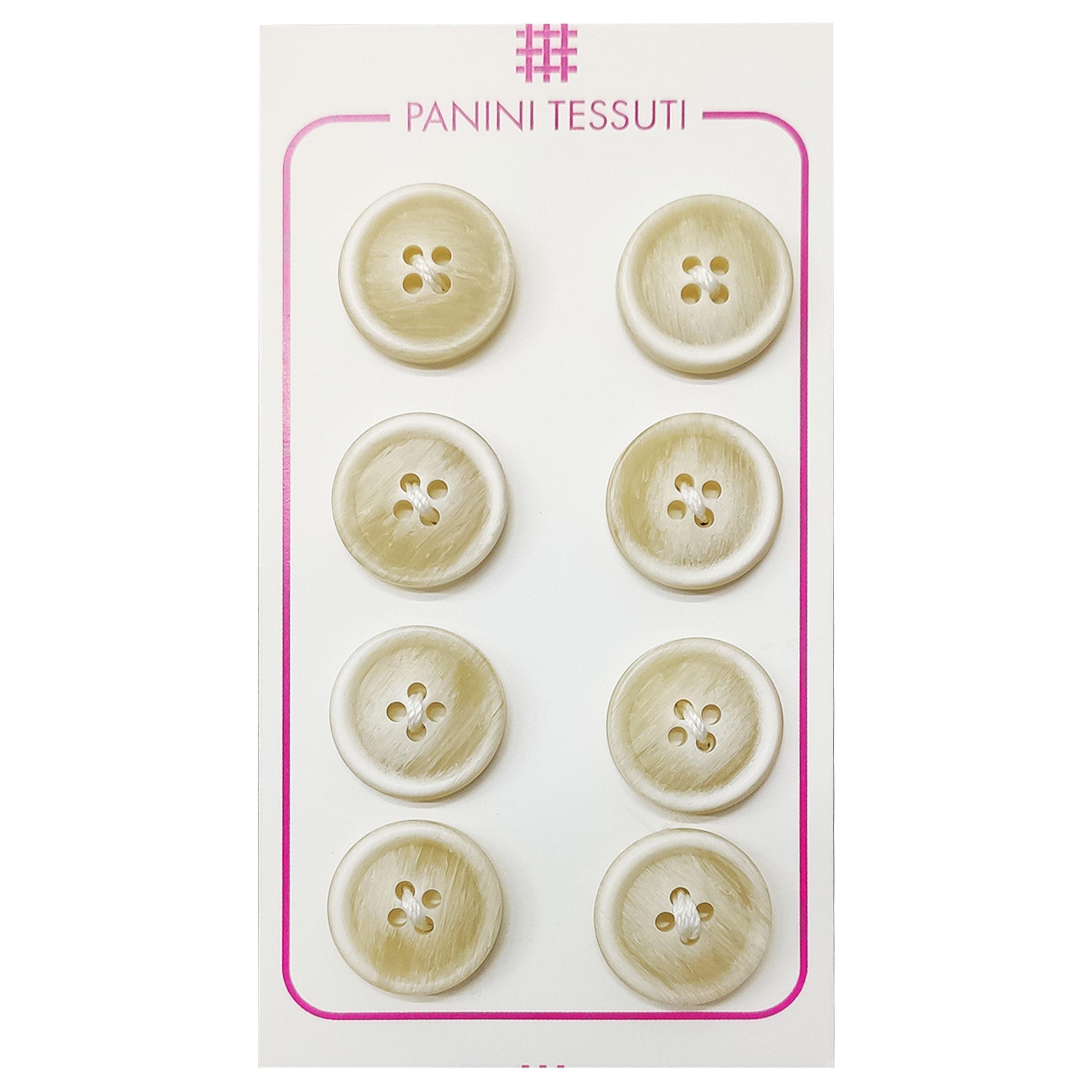 Bottoni Opachi Melange Color Panna 8 Pezzi - Lin 24