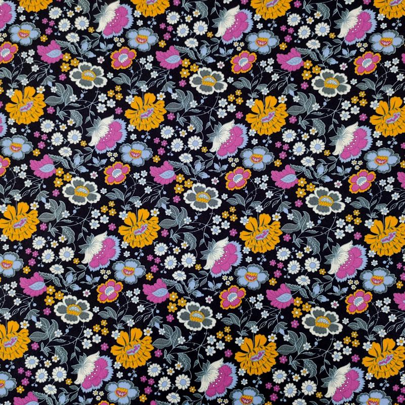 Tessuto Cotone Natural Fiori Gialli e Fuxia