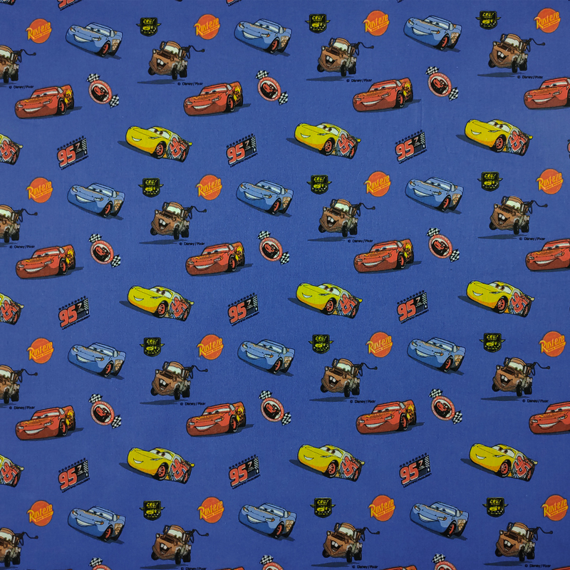 Tessuto Cotone Disney Cars Blu